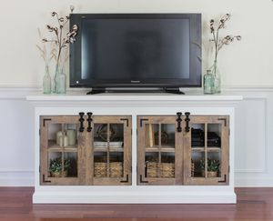 A farmhouse style media console.
