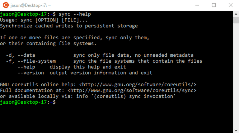 The Sync command writes files to persistent storage.