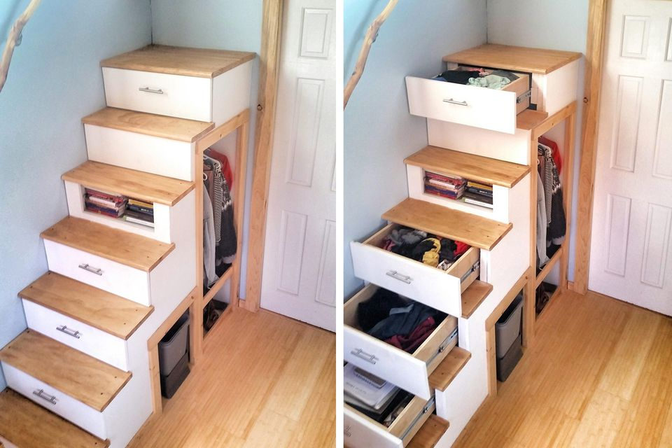 ingenious under stair shelving. Staircase Storage  Tiny House Stairs Loaded With Floor to Ceiling Cabinets