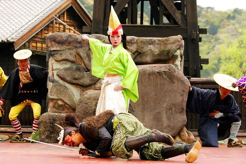 Performers take part in a reproduction of the 'Procession of Tayu' at Edo Wonderland Nikko Edo Mura on April 25, 2008 in Nikko, Tochigi, Japan.