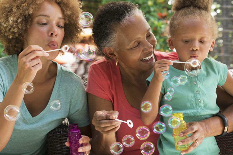 Black multi-generation family blowing bubbles outdoors