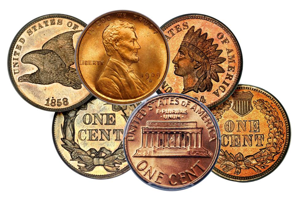 Various small cents from the United States mint.