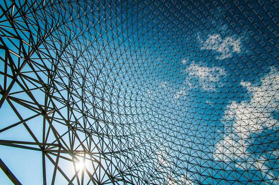 Montreal Biosphere closeup. Inside Buckminster Fuller's geodesic dome.