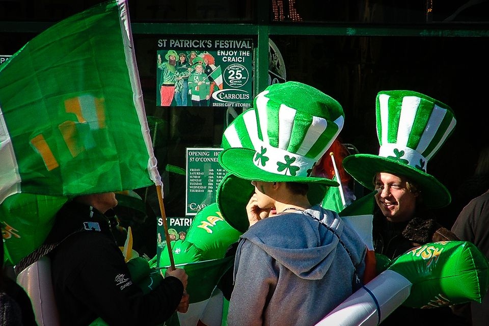 March in Ireland - with marching bands, on Saint Patrick's Day, when everybody is Oirish