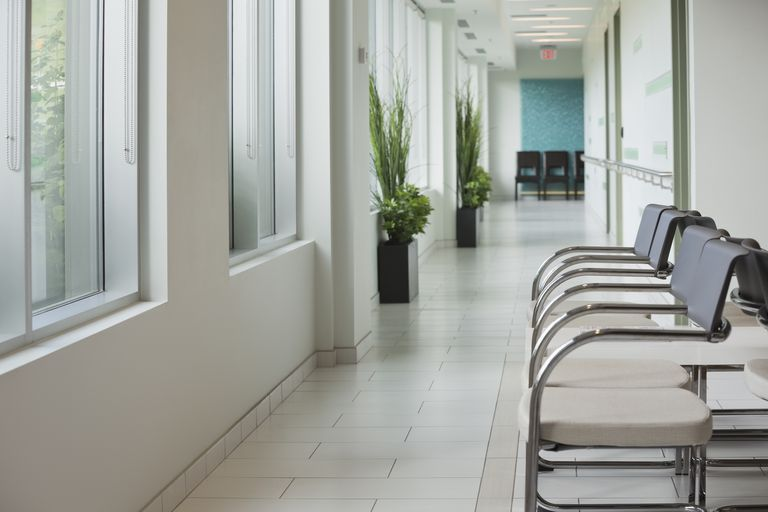 Empty waiting area in radiology center