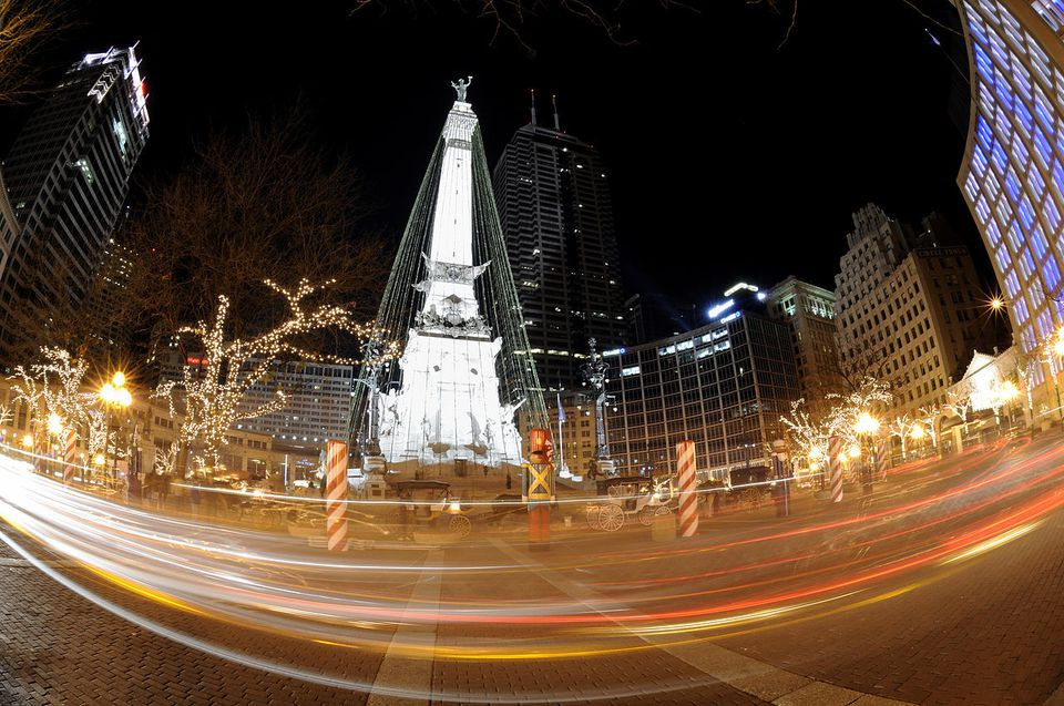 The Christmas Tree at Monument Circle.