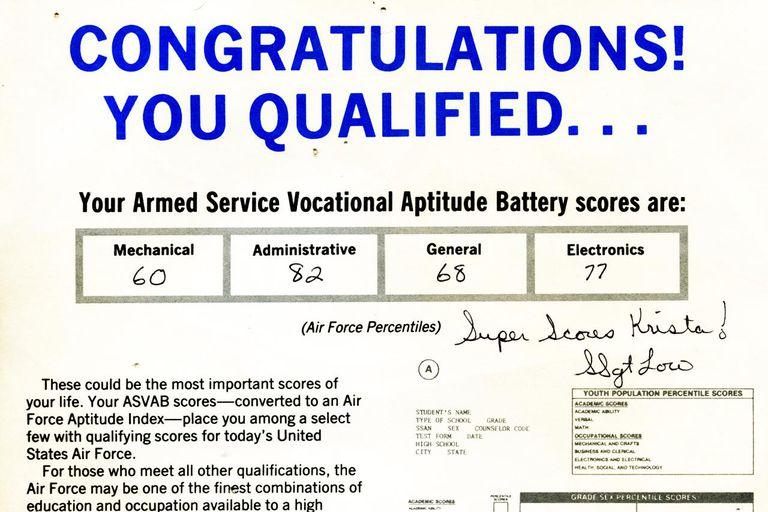 ASVAB scores, 1992
