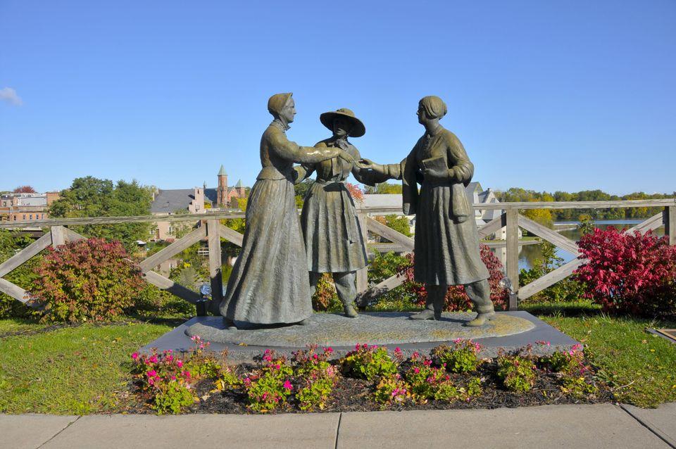 Statue depicting women's rights in Seneca Falls, NY