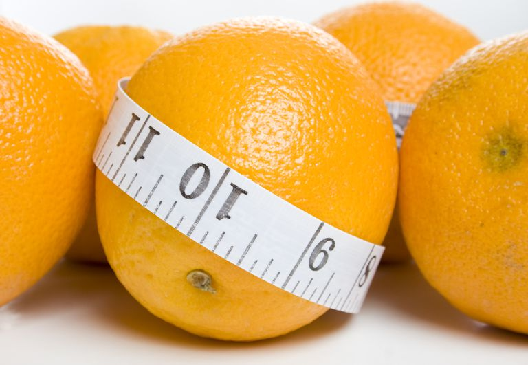 Orange wrapped in a measuring tape
