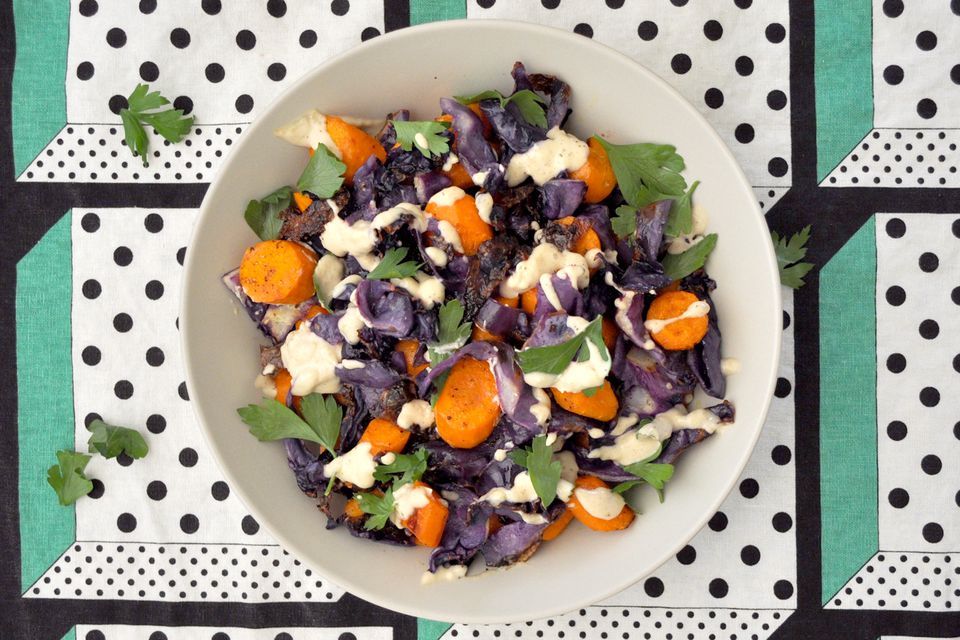 Roasted Carrot and Red Cabbage Slaw