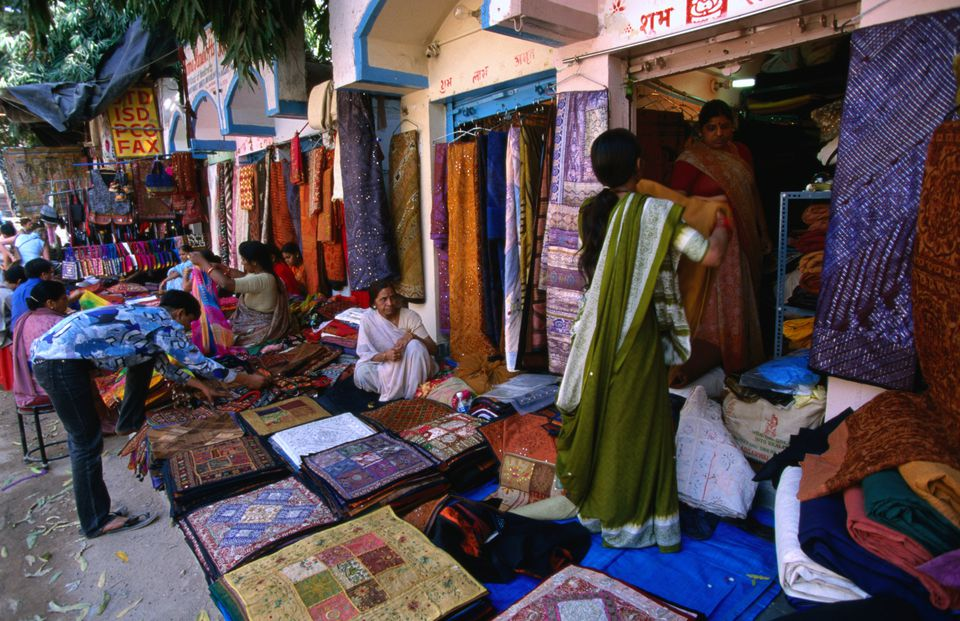 Stores selling Rajasthani fabrics at the Janpath market.