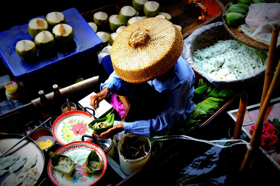 Traditional Thai treats being freshly handmade at the floating markets Thailand
