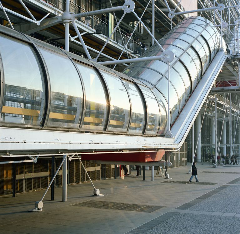 Escalator tube in the Centre George Pompidou in Paris, France.