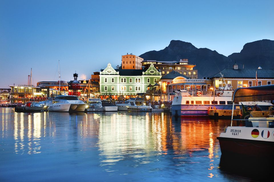 Victoria and Alfred Waterfront at night, Cape Town, Western Cape, South Africa, Africa