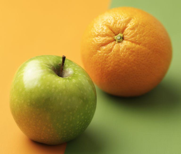Green apple and orange