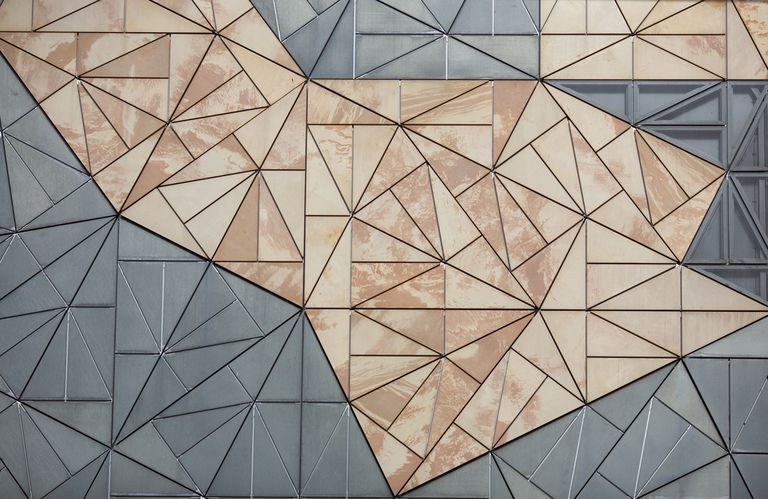 Architectural detail of glass triangular fractal facade, Federation Square, Melbourne, Australia