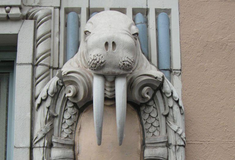 Terra-cotta walrus on the Arctic Club building, 1916, Seattle, Washington