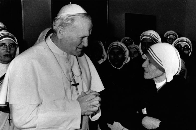 Pope John Paul II and Mother Teresa, December 13, 1979. (Photo by Keystone/Getty Images)