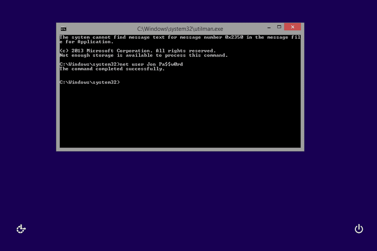 Screenshot showing how to reset a Windows 8 password in Command Prompt with the net user command