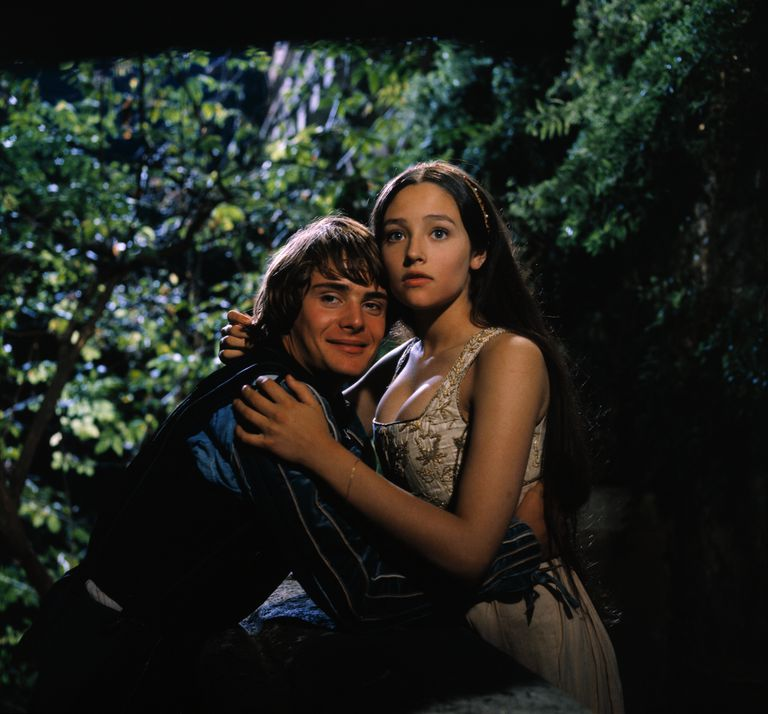 Olivia Hussey and Leonard Whiting Embracing