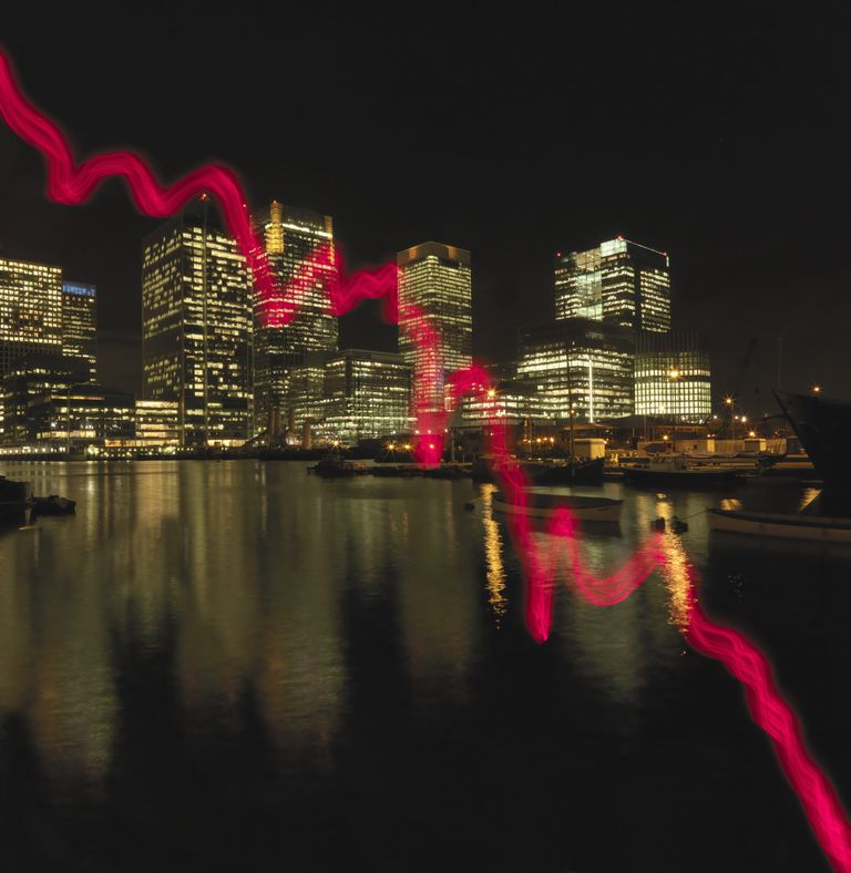 Red graph drawn across office buildings