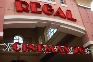 The front of a Regal Cinemas movie theater.