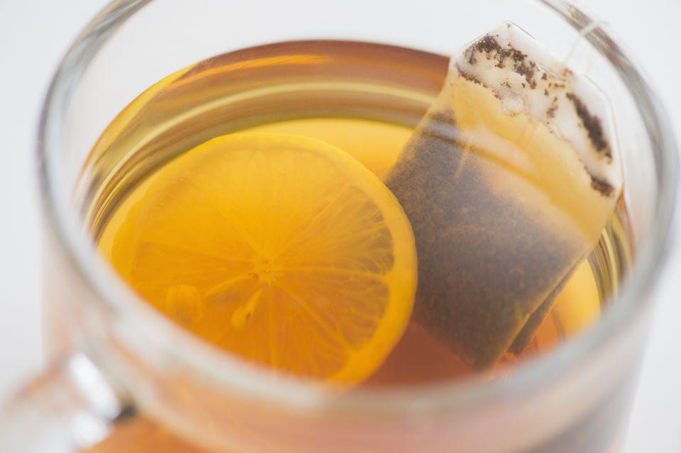 Studio Shot of tea with lemon