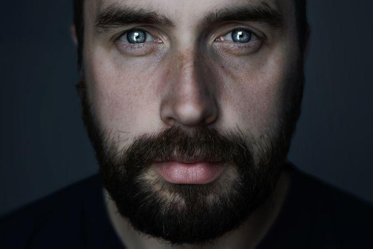 Moody man with beard