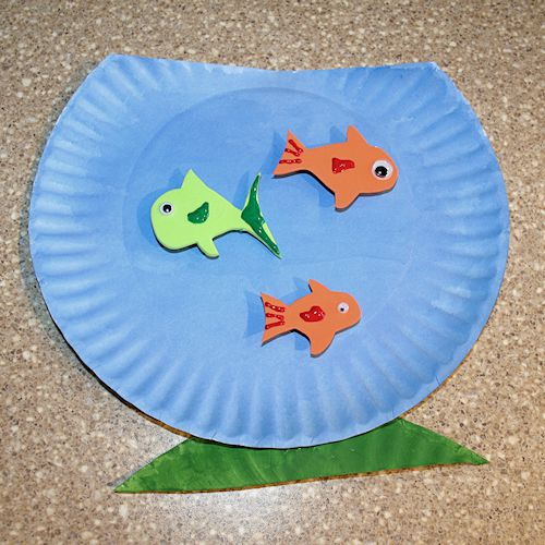 How to make a paper plate fishbowl craft for How to make a fish bowl