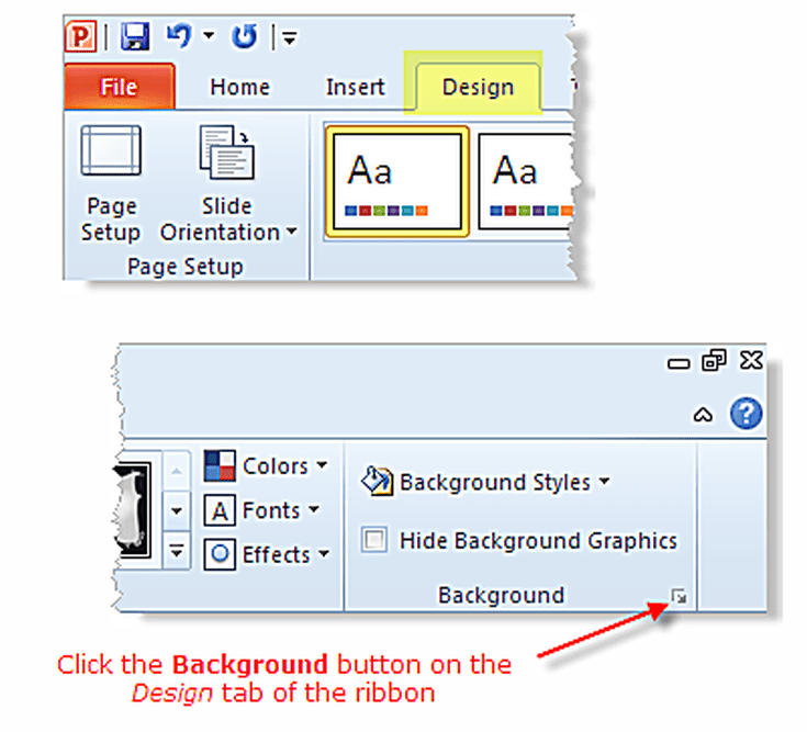 Access PowerPoint Backgrounds Using The Design Tab Of Ribbon