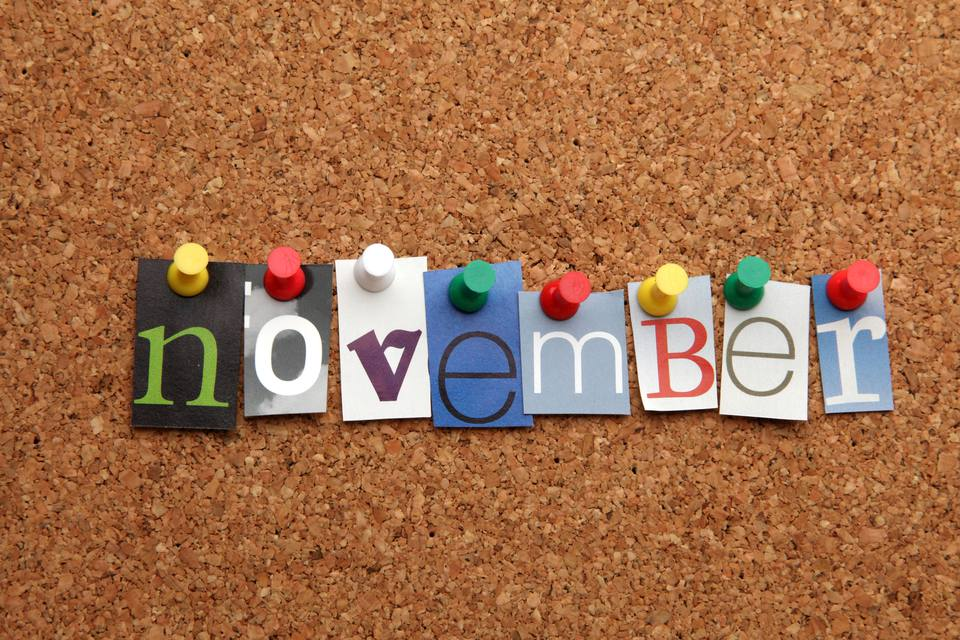 November on board with push pins
