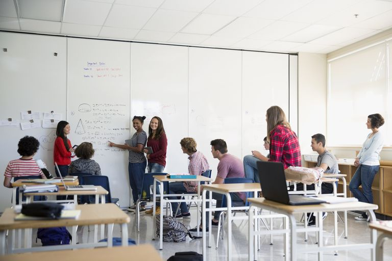 High school students presenting at whiteboard in classroom