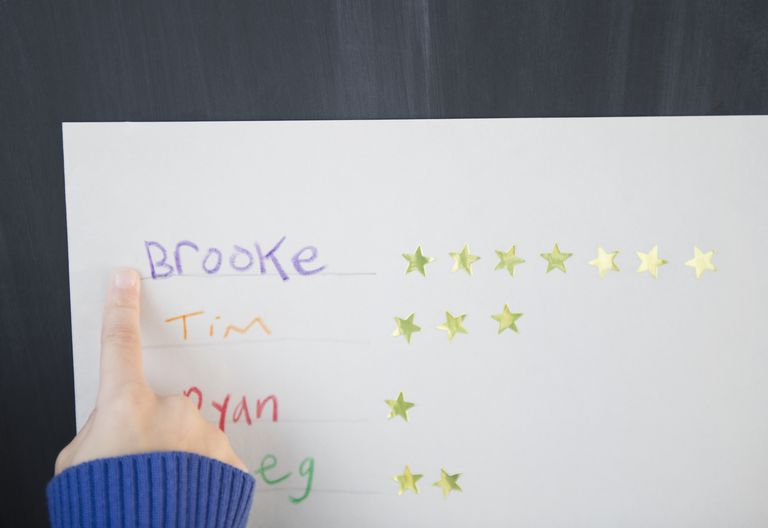 Girl pointing at a name and stars on a reward chart