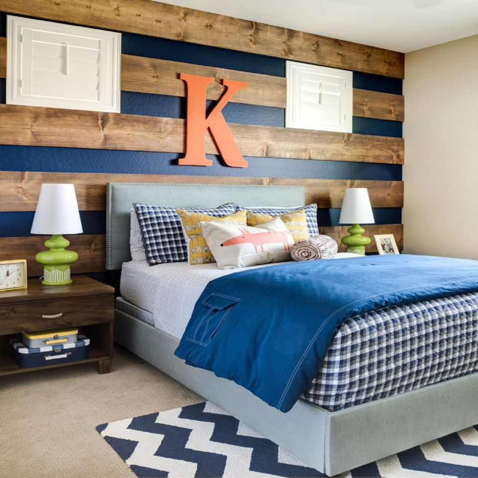 Wood stripes on bedroom wall.