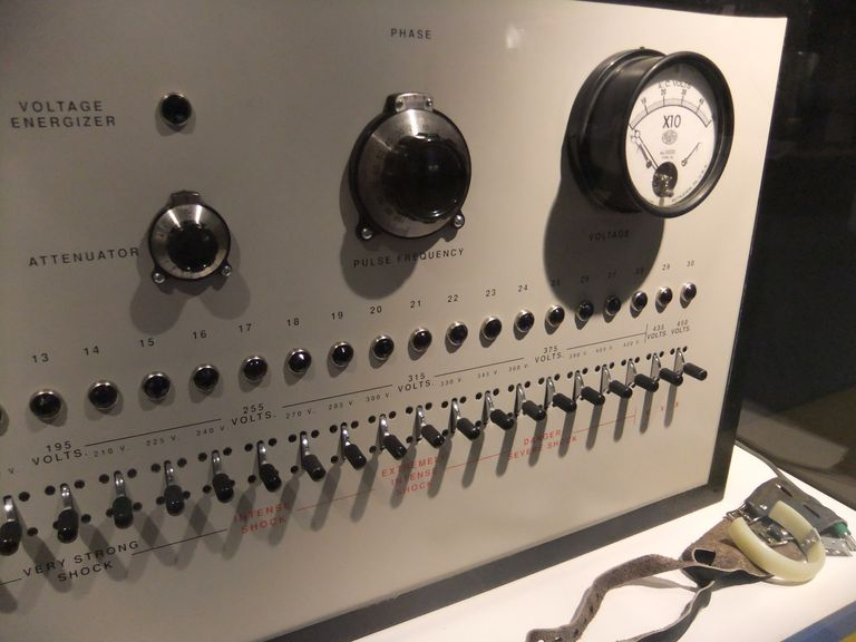 The original shock box used in Milgram's obedience experiments