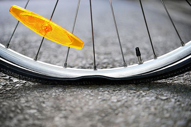 CU of a punctured bicycle tyre.