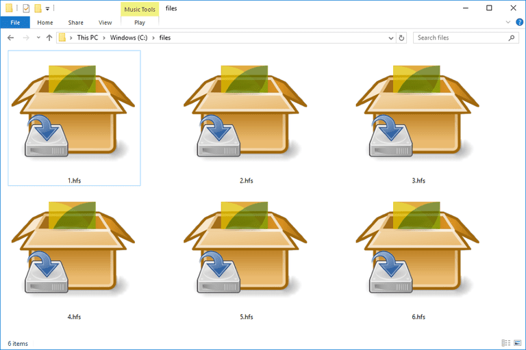 Screenshot of several HFS files in Windows 10 that open with PeaZip