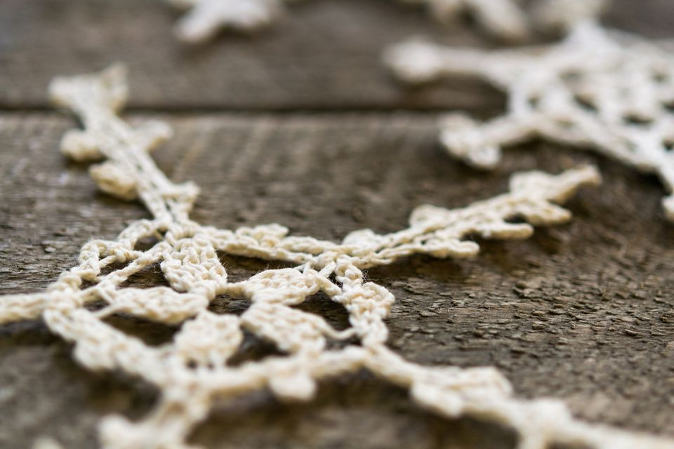 Lace Christmas Ornaments on Wood