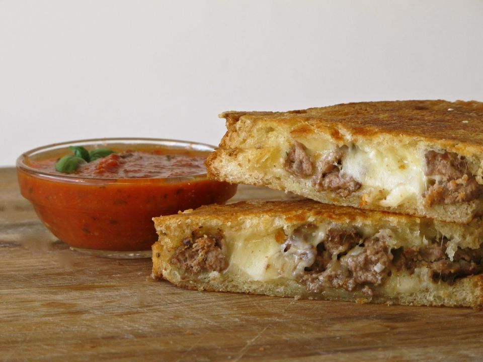 smashed meatball + asiago grilled cheese