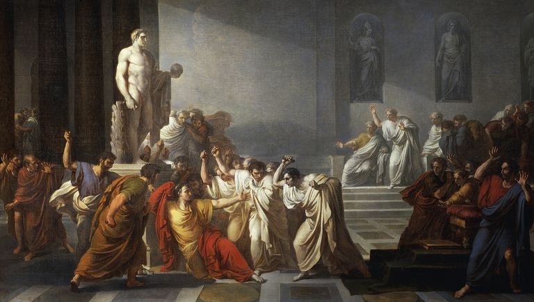 Death of Julius Caesar, 1805-1806, by Vincenzo Camuccini (1771-1844), oil on canvas, 400x707 cm