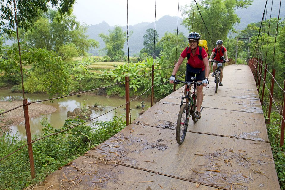 Biking around Mai Chau in Vietnam