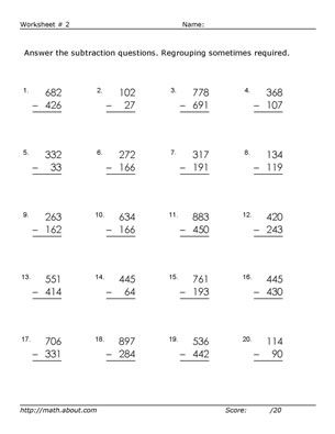 3 Digit Subtraction with Regrouping Worksheets