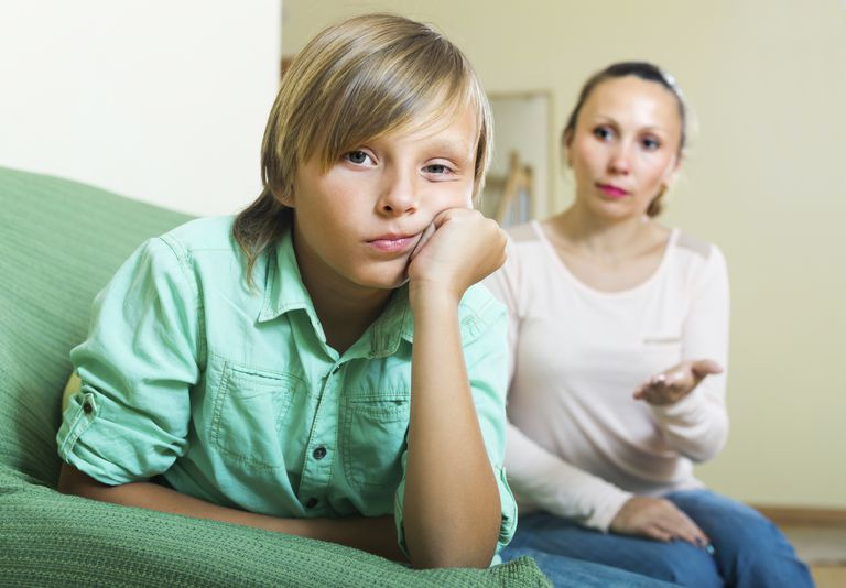 mom trying to talk to son