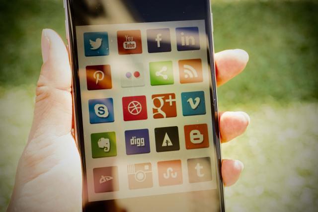 social media logos on smartphone