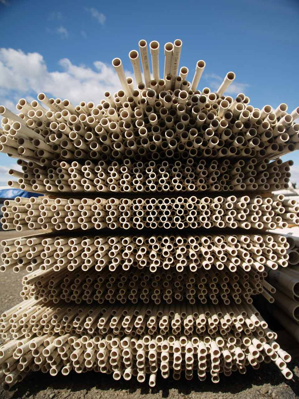 Vast stacks of PVC piping