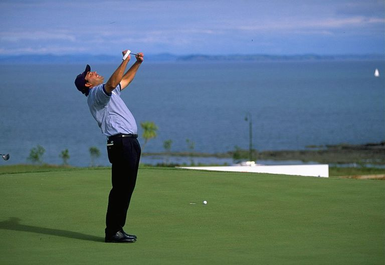 Angel Cabrera of Argentina shows his anger when missing a putt on the 17th green