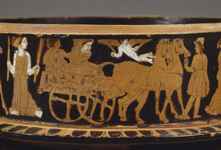 Wedding wagon, detail from ciborium with red figures, Greek civilization, 5th century BC