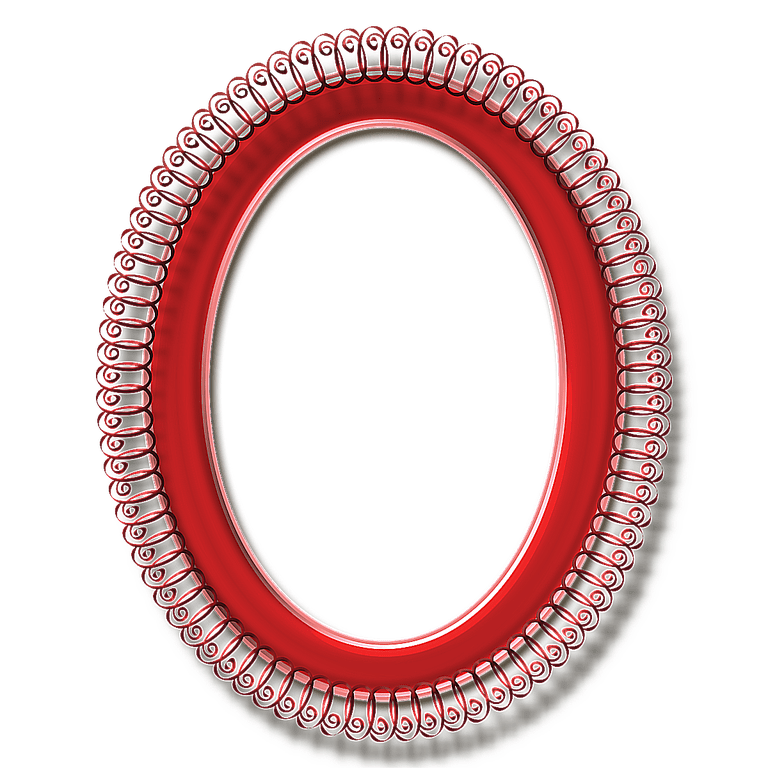 Red Oval Curlicue Frame