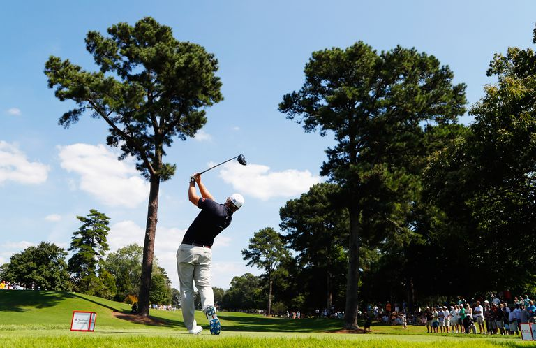 Ryan Moore hits a tee shot during the 2016 Tour Championship