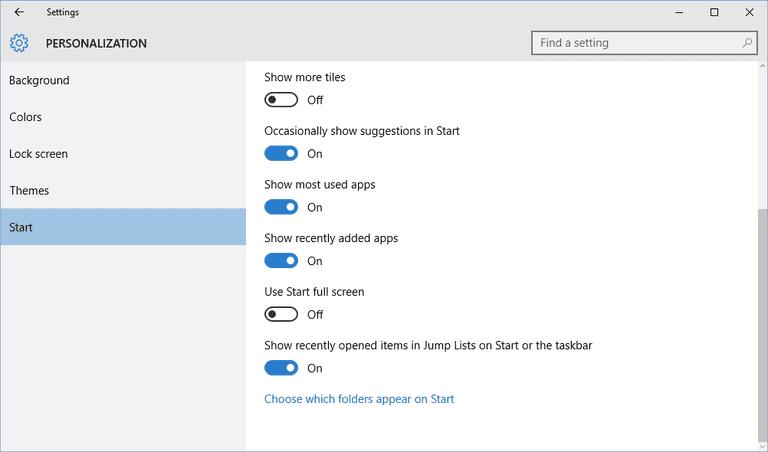 Start menu personalization options in Windows 10.